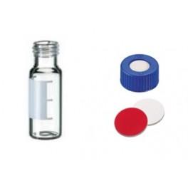 KIT Flacons transparent ND9 2mL avec label de marquage + Bouchons bleu polypropylène et septum Silicone/PTFE